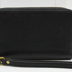 Fossil Black Leather Leather Wristlet